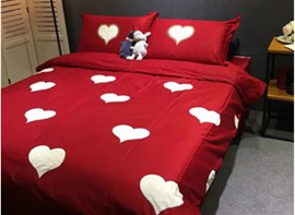 Vivilinen Stunning White Hearts Pattern Red Background Cotton 4-Piece Duvet Cover Sets