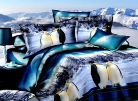 Adorable Antarctic Penguin 3D Printed 4-Piece Polyester Duvet Cover Sets