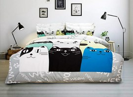 Vivilinen special cartoon cats pattern kids Ensemble de couette en duvet de 4 pièces