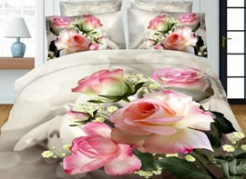Vivilinen Pink Rose Printed 4-Piece Polyester Duvet Cover Sets