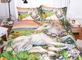 Vivilinen 3D Unicorn Printed Polyester 3-Piece Bedding Sets/Duvet Covers