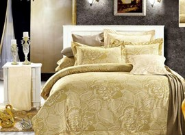 Vivilinen Luxury Peony Print 4-Piece Polyester Duvet Cover Sets