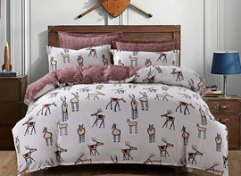 Vivilinen Cartoon Reindeer Print 4-Piece Polyester Duvet Cover Sets