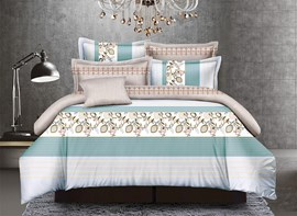 Vivilinen Stripes and Arabesque Print Polyester 4-Piece Duvet Cover Sets
