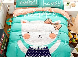 Vivilinen Cat with Green Background Print 4-Piece Cotton Duvet Cover Sets