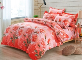 Vivilinen Fabulous Pink Rose Print 4-Piece Duvet Cover Sets