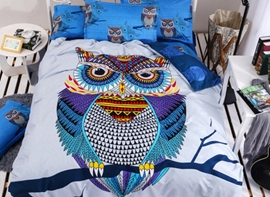 Vivilinen Big Owl Print 4-Piece Duvet Cover Sets