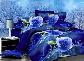 Vivilinen Graceful Bluelover Blue Rose Print 4-Piece Polyester Duvet Cover Sets