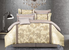 Vivilinen Arabesque Print Golden Polyester 4-Piece Duvet Cover Sets