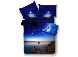 Vivilinen Blue Moon Galaxy 3D Printed Polyester 4-Piece Bedding Sets/Duvet Covers