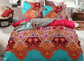 Vivilinen Bohemian Style Contrast Color Polyester 4-Piece Bedding Sets