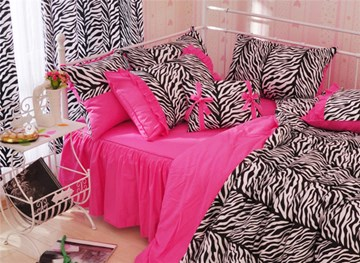 Vivilinen Zebra Stripe Pattern Cotton Full Size 4-Piece Pink Duvet Covers/Bedding Sets