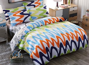 Vivilinen Multicolor Racked Pattern Polyester 4-Piece Neutral Bedding Sets