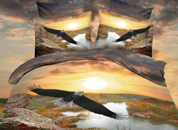 Lift the Wings Eagle Flying Over the River Print Polyester 3D Bedding Sets