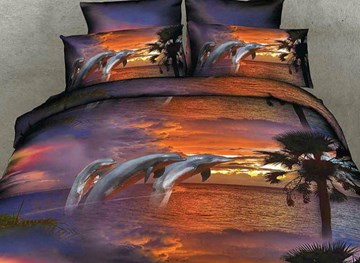 Vivilinen Twilight Scenery Jumping Dolphins Print 4-Piece Duvet Cover Sets