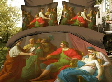 Vivilinen High Quality Renaissance Lively Oil Painting 4 Piece Polyester 3D Bedding Sets