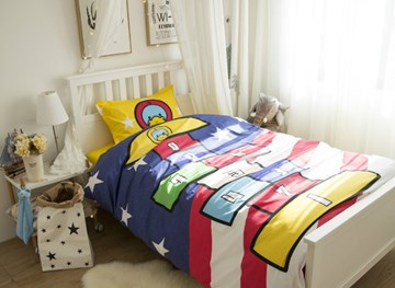 Vivilinen Duck and Squares Game Printed Cotton 3-Piece Duvet Covers/Bedding Sets