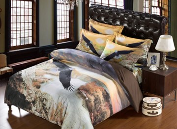 Vivilinen Eagle Flying across Waterfall Print 6-Piece Duvet Cover Sets