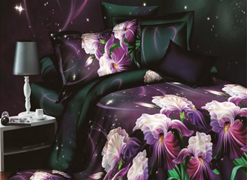 Vivilinen Purple Flower Print 4-Piece Polyester Duvet Cover Sets