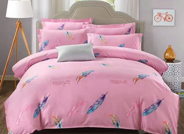 Vivilinen Beautiful Feathers Print Pink Polyester 4-Piece Duvet Cover Sets