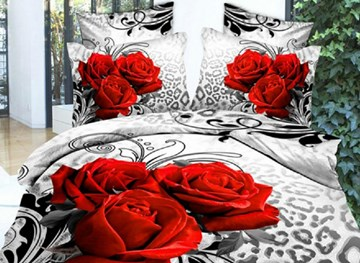 3D Red Roses Leopard 3D Printed Polyester 4-Piece Duvet Cover Sets
