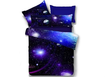 Vivilinen Galaxy Reactive Printing Polyester 4-Piece Bedding Sets/Duvet Covers