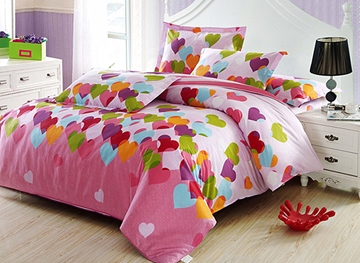 Vivilinen Heart Shape Pattern Cotton Duvet 4-Piece Pink Kids Duvet Covers/Bedding Sets