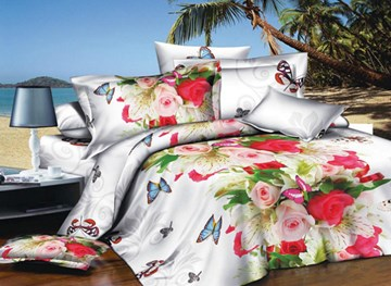 Vivilinen Rose and Butterfly Print 4-Piece Polyester Duvet Cover Sets