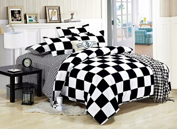 Vivilinen Black White Checked Polyester 3-Piece Bedding Sets/Duvet Covers
