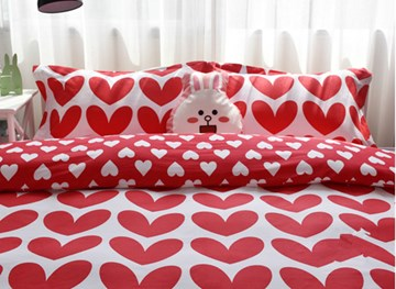Vivilinen Valentine Style Red Hearts Pattern Cotton 4-Piece Duvet Cover Sets