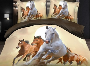 Vivilinen Magnificent Running Horses Print 4-Piece Polyester Duvet Cover Sets