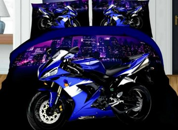 Vivilinen 3D Motorcycle Printed Polyester 4-Piece Bedding Sets/Duvet Covers