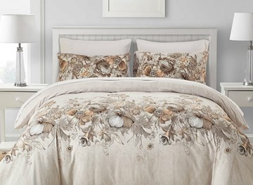 Vivilinen Flowers Printed Pastoral Style Beige Polyester 3-Piece Bedding Sets/Duvet Cover
