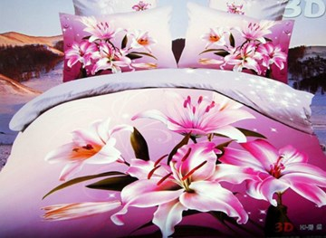 Vivilinen 3D Balmy Pink Lily Printed 4-Piece Polyester Duvet Cover Sets