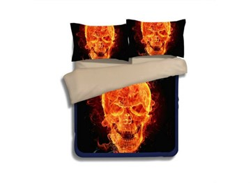 3D Fiery Skull Printed Polyester 4-Piece Bedding Sets/Duvet Covers