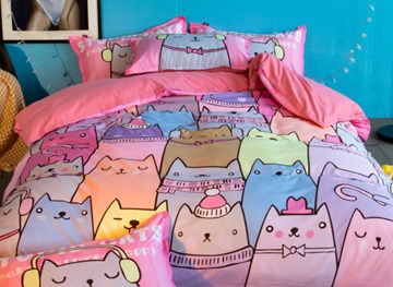 Vivilinen Cartoon Kittens 4-Piece Polyester Duvet Cover Sets