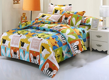 Vivilinen Super Cute Animals 4-Piece Cotton Kids Duvet Cover Sets