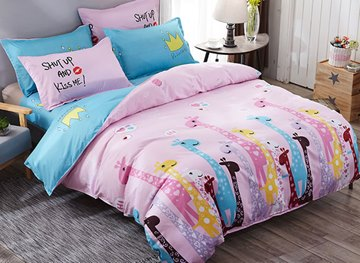 Vivilinen Multicolor Giraffes Prints Polyester 4-Piece Pink Bedding Sets/Duvet Cover