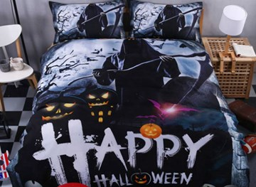 Cooler Halloween-Ghost-Kürbis-Print 4-teilige Polyester-Bettbezug-Sets