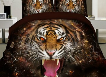Vivilinen 3d tiger print 4-teiliges Polyester-Bettbezug-Set