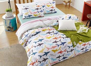 Vivilinen Cartoon Sharks Print Cotton 4-Piece Duvet Cover Sets