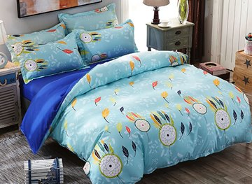 Vivilinen Blue Dream Catcher and Leaves Prints Polyester 4-Piece Bedding Sets/Duvet Covers