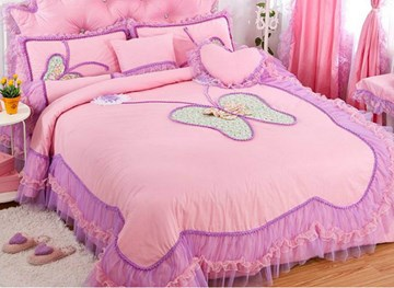 Vivilinen Lace Butterfly Pattern Design Pink 4-Piece Princess Duvet Cover Sets