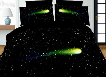Vivilinen Galaxy Print Green 4-Piece Polyester 3D Duvet Cover Sets