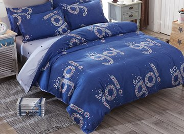 Vivilinen Shining Let's Go Prints Polyester 4-Piece Dark Blue Bedding Sets/Duvet Covers