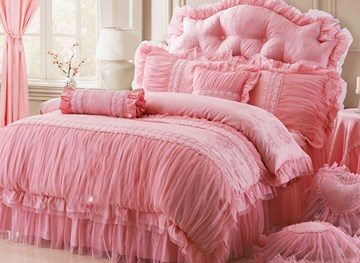 Vivilinen Cotton and Lace Princess 4-Piece Pink Duvet Covers/Bedding Sets