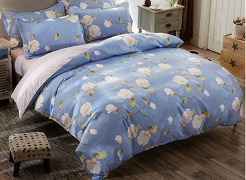 Vivilinen White Mangnolia Printed Polyester 4-Piece Light Blue Bedding Sets/Duvet Covers