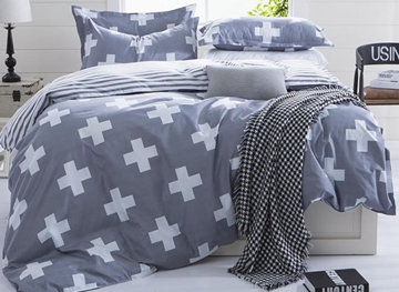 Vivilinen Concise Plus Sign Print Grey 4-Piece Duvet Cover Sets