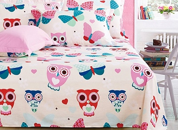 Vivilinen Owls Pattern 4-Piece Soft Cotton Kids Duvet Cover Sets