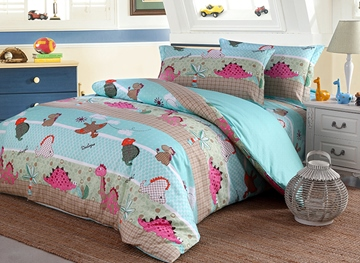 Vivilinen Dinosaur Pattern Cotton 4-Piece Twin Size Blue Duvet Covers/Bedding Sets